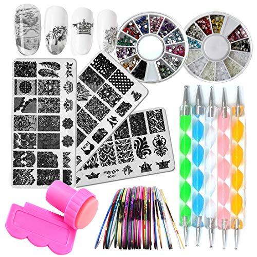 Nail Art Kit 3pc Flower Animal Nail Stamping Plate, 2 Acrylic Nail...