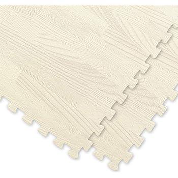 【 超極厚 20mm 】 ノンホル 『 やさしいジョイントマット 』 ナチュラル 木目調 大判 12枚入 本体 ラージサイズ(60cm) ホワイトウッド 白 【 床暖房対応 防音 】