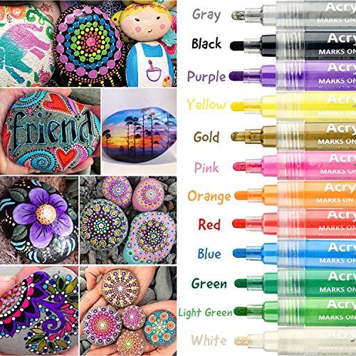YITHINC Acrylstifte Marker Stifte,12 Farben Art Filzstift Acrylic Painter für Stein Papier Glas Kunststoff Keramik Permanente Wasserbasis mit 6mm Umkehrbarer Rund-und Meißelspitze