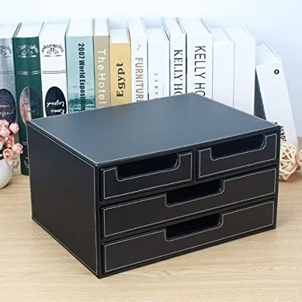 34X26X18.5CM Color : Black Home Office Furniture MDF File Cabinets Strong Collision Resistance Reasonable Storage Beautiful Design Standard Desks Small Size Leather