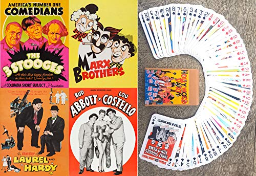 FlonzGift Famous Vintage Comedians Playing Cards (Poker Deck 54 Cards All Different) 3 Stooges, Marx Brothers, Laurel Hardy, Abbott Costello Vontage Comedy Movie Posters