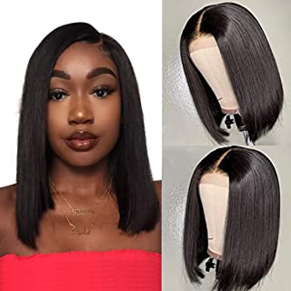 V SHOW Hair Lace Front Wigs Human Hair Malaysian Bob Straight Virgin Hair Pre Plucked Lace Wigs Natural Hairline with Baby Hair for Black Women Free Part Natural Black(8 Inches)
