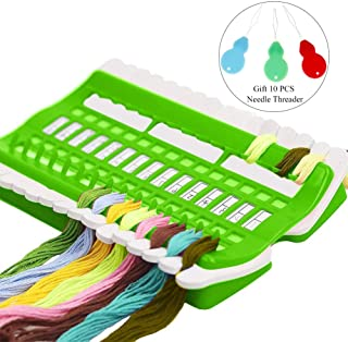 AhlsenL Embroidery Floss Organizer Kit - 30 Positions Embroidery Thread Organizer with Needle Threaders Sewing Needles Pins Holder Multi-Function Craft DIY Reusable Sewing Accessory (Green)