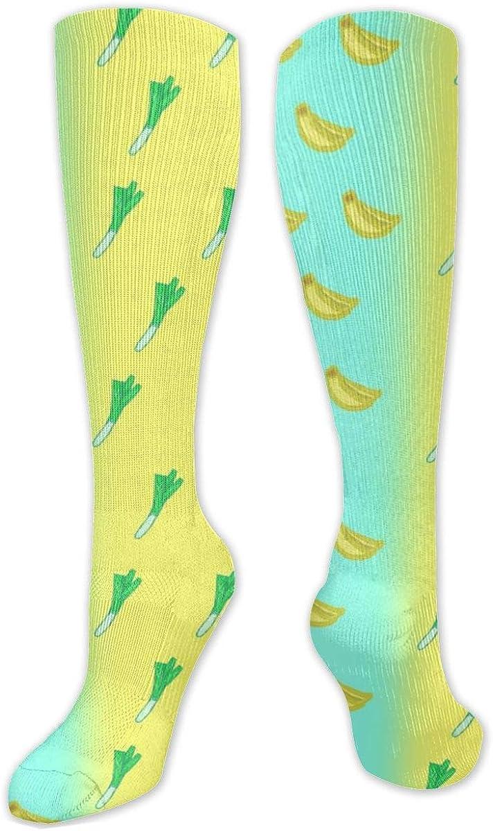 Banana Leaf Mustard Knee High Socks Leg Warmer Dresses Long Boot Stockings For Womens Cosplay Daily Wear