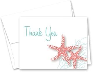 50 Starfish Beach Wedding Shower Thank You Cards (Coral)