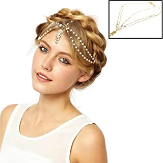 Gold Tone Indian Style Hair Pendent Circular Head Chain Headpiece. Crystal Water Drop. 13.6