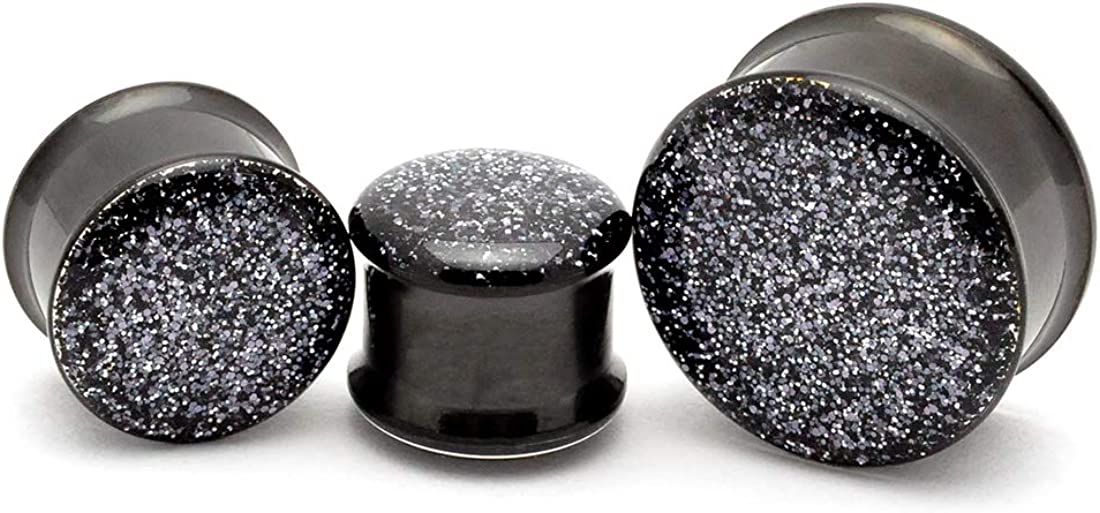 Mystic Metals Body Jewelry Pair of Black Onyx Glitter Plugs - Sold as a Pair