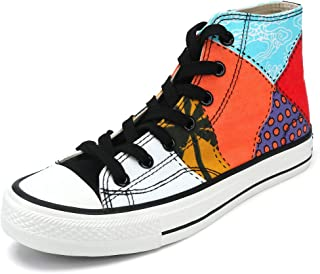 aogula Unisex Fashion Sneakers with Colorful Lattice Point,High Top Lace-up Canvas Cute Classic Casual Flat Walking Shoes for Men & Women
