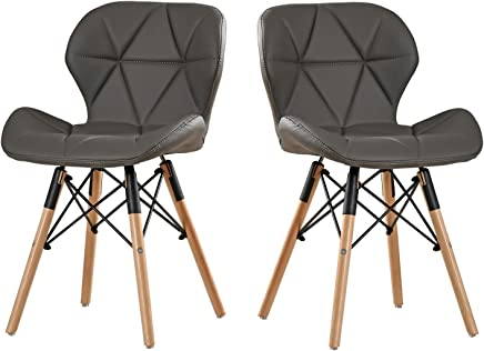 DlandHome Modern Bar Chair PU Leather Set of 2 with Wood Legs for Kitchen,  Dining,  Bedroom,  Living Room,  Lounge,  Grey 1986-005-GY
