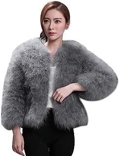 Women Faux Fur Ostrich Feather Soft Fur Coat Jacket Fluffy Winter Xmax