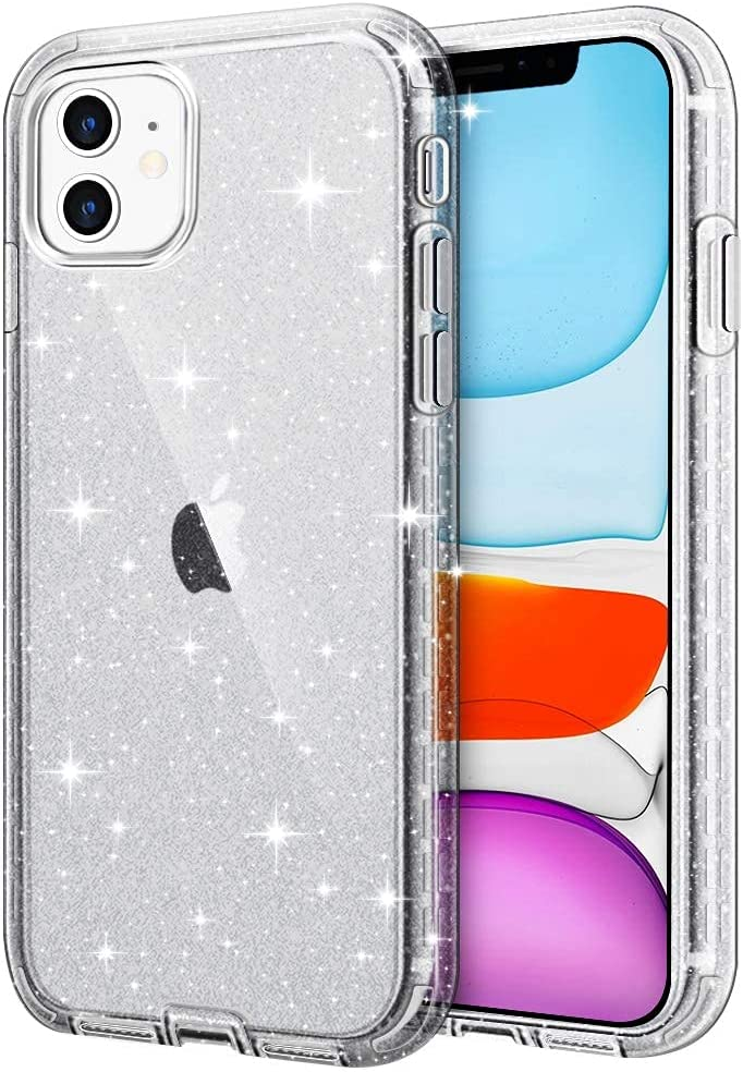 Hython Glitter Compatible with iPhone 11 Case, Slim Glitter Bling Sparkly for Women Girls Anti-Scratch Shockproof Protective Phone Case Hard Bumper Cover for iPhone 11 6.1-Inch 2019, Glitter Black