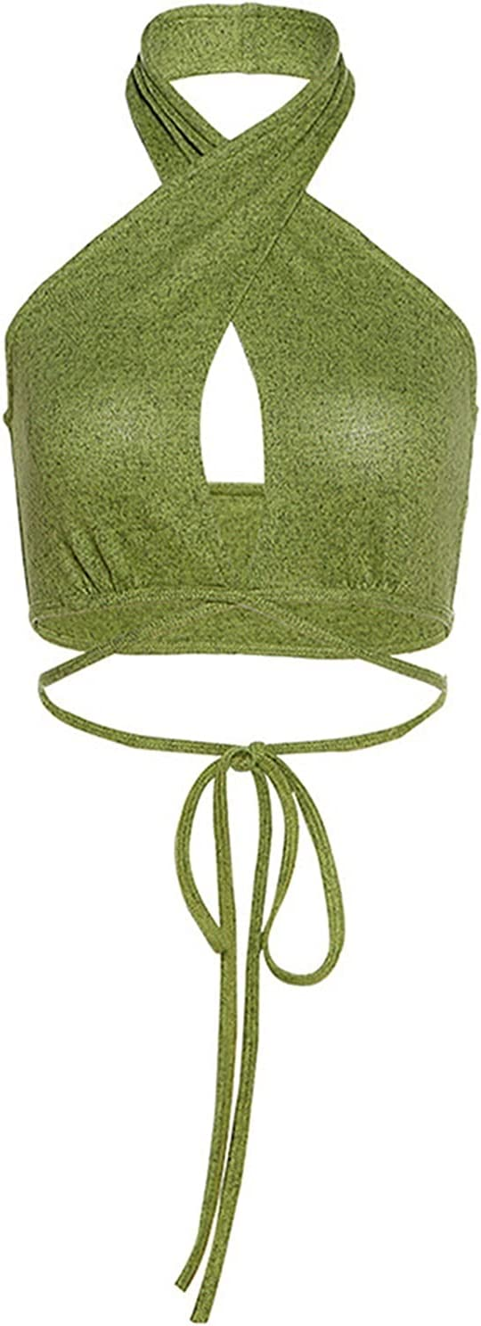 PJRYC Cut Out Crossing Halter Camisoles Sexy Women's Hollow Fashion Navel Street Style Fit Backless Slim Solid Vest Woman Clothes (Color : Green, Size : Large)