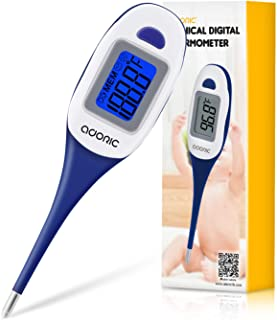 Thermometer for Fever, Adoric Digital Medical Thermometer - Rectal and Oral Thermometer with Fever Indicator, Accurate and Fast Readings for Babies and Adults (Blue, Medium)
