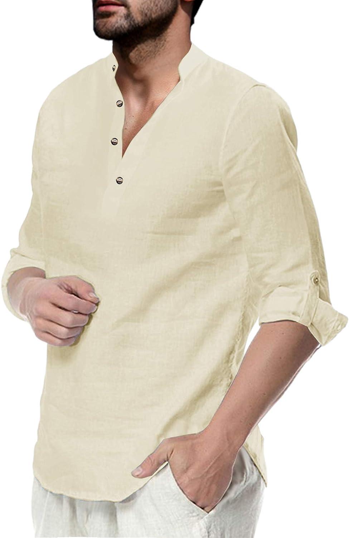 Makkrom Men's Long Tampa Mall Sleeve Henley Summer Cotton Beach Linen Shirt Max 58% OFF