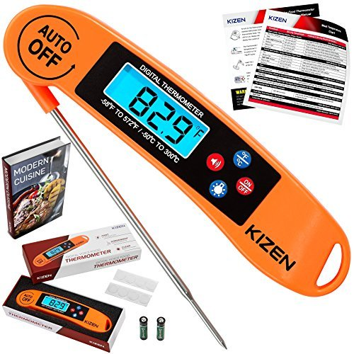 Kizen Instant Read Meat Thermometer - Best Waterproof Alarm Thermometer with Backlight & Calibration. Kizen Digital Food Thermometer for Kitchen, Outdoor Cooking, BBQ, and Grill!¡¦
