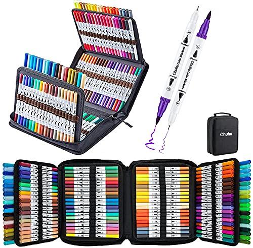 160 Farben Dual Brush Pen Set, Ohuhu Pinselstifte Filzstifte Set, Wasserbasis Marker Brush Pen Handlettering Stifte, Kalligraphie Zeichnung Skizzieren Malbuch Stifte Für Kinder und Erwachsene