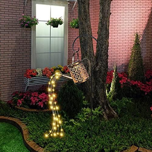 MRZJ Regadera LED para jardín exterior, tipo regadera con luz LED solar, para jardín de hadas, farolillos, guirnalda de luces, decoración de jardín, regadera con soporte