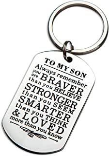 InspirationalKeychainGifts to MySon Daughter Always Remember You are Braver Than You Believe Key Ring Charm Family Gifts from Dad Mom Graduation Birthday Christmas