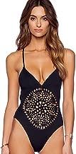 Blooming Jelly Women's One Piece Crochet Cutout Deep V Neck Swimsuit Bathing Suit