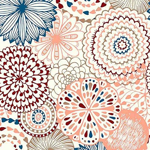 Tela por metros de loneta estampada - Ancho 280 cm - Largo a elección de 50 en 50 cm | Mandala. Flores - Granate, azul, rosa