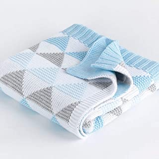 Babyworks Cot Blanket Double Knit - BLUE TRIANGLE, Piece of 1