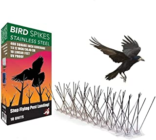 HN Bird Spikes for Pigeons Small Birds Cat,Anti Bird Spikes Stainless Steel Bird Deterrent Spikes, Stainless Steel Bird Spikes Kit 10 Feet (3 Metre) Bird Deterrent Kit with Bird Spikes Bird Spikes3