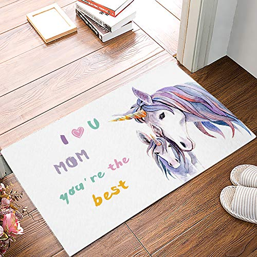 Indoor Doormat Super Absorb Water 31.5 x 20 Inch Machine Washable Non Slip Entrance Rug for Front Door Inside Dirt Trapper Door Mats Shoes Scraper I Love You Mom You're The Best Cute Unicorn