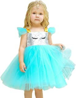 Shiny Toddler Little/Big Girls Shiny Sequins Birthday Party Dance Dress