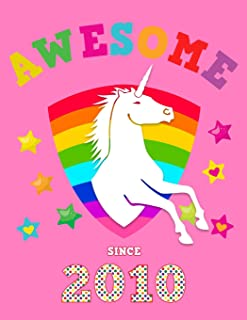 Awesome Since 2010: Unicorn Blank Guitar Tab Sheet Music Song Writing Notebook | Pink Cover for Girls | Notation Manuscript Tablature Note Book Paper ... Musician | Chord Spaces (Staves Staffs)