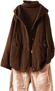 Mujer Plus Size Chaquetas Abrigo Casaca Capucha de Pana Clgodón Acolchados Botón Ropa de Abrigo Suelta