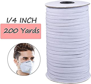 """White 1/4"""" Width 200-Yards Length Elastic Bands for Sewing Braided Elastic Cord/Elastic Band/Elastic Rope/Flat Elastic/Bungee/White Heavy Stretch Knit Elastic Spool(White)"""