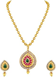 Traditional Kundan Beaded Gold tone Pendant Set For Women