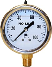 Merrill MFG PGLNL100 0-100 PSI No-Lead Liquid Filled Stainless Steel Case Pressure Gauge, Brass/Stainless Steel