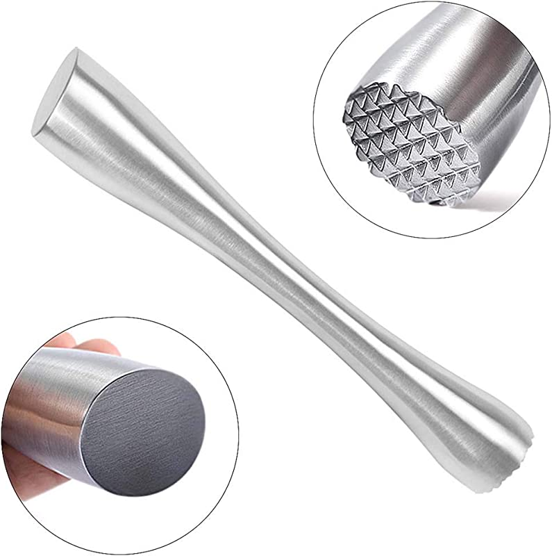 Stainless Steel Cocktail Muddler 8 Professional Old Fashioned Mojitos Drink Muddler Ideal Bartender Tool