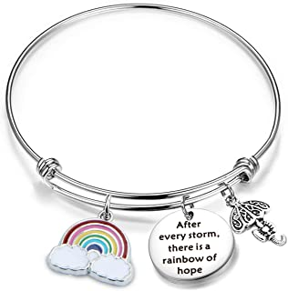 Inspirational Bracelet Encouragement Gift After Every Storm There is A Rainbow of Hope Rainbow Charm Bracelet Memorial Jewelry Gift for Her