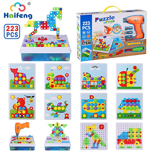 223 Pieces Construction Engineering Blocks Set, Electric Drill Puzzles STEM Toys, Drill & Screw Driver Tool Kit, Educational Building Learning Set, Best Kids Gift for Boys Girls Age 3-10 Year Olds