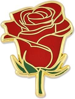 PinMart Red Rose Flower Boutineer Trendy Enamel Lapel Pin