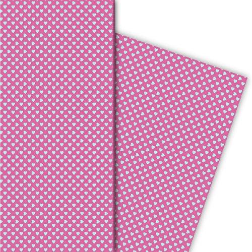 Kartenkaufrausch romantisch met kleine hartjes cadeaupapier voor leuke geschenkverpakking, 4 vellen, 32 x 48 cm universeel pakpapier om mooier te maken, knutselen, scrapbooking lichtblauw op roze