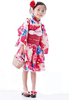 浴衣ドレスセット 2点セット(浴衣ドレス+作り帯) 浴衣セット 浴衣 子供 キッズ 女の子 子供浴衣 レトロ 古典 ゆかた レトロ椿 こども用 子ども こども ゆかたドレス