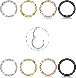 Elejolie 8 Pcs 16G Stainless Steel Hoop Earrings for Women Men Nose Rings Tragus Helix Lip Septum Couch Daith Cartilage Piercing Jewelry Set