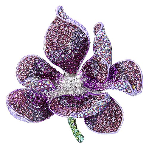 EVER FAITH Women's Austrian Crystal Orchid Flower Petal Brooch Purple Silver-Tone