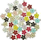 40pcs Mixed Color Zinc Alloy Enamel Mini Crown Flower Charms for DIY Necklaces Bracelets Jewelry Accessories (Flower)