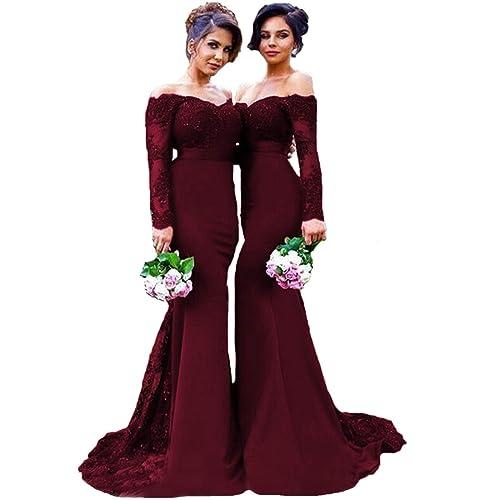 Long Burgundy Bridesmaid Dress: Amazon.com