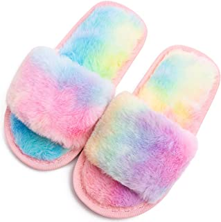 دمپایی خونه فازی پسرانه دخترانه لغزش خز مصنوعی خز مصنوعی روی اسلایدهای انگشتی کتانی مخمل خواب دار مخصوص کودکان و نوجوانان کفش گرم در فضای باز