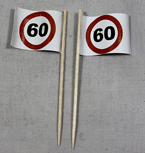 Buddel-Bini Party-Picker Flagge Tempo 60 Verkehrszeichen Papierfähnchen in Profiqualität 50 Stück Beutel Offsetdruck Riesenauswahl aus eigener Herstellung