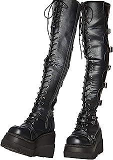Womens Lace Up Knee High Winter Boots Platform Chunky High Heels Combat Boots Sz