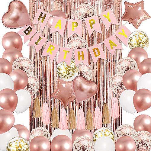 YBwanli Decoración de cumpleaños de oro rosa, 43 artículos, decoración de fiesta para niñas, pancarta de feliz cumpleaños, guirnalda de borlas, estrella de corazón,globos de oro rosa (oro rosado)