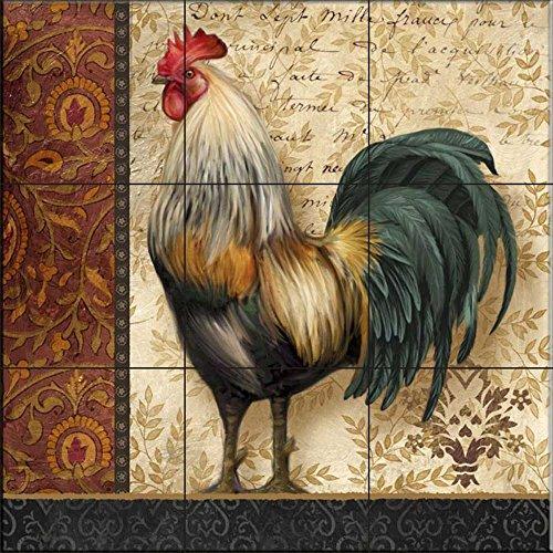 Cerámica de azulejos - Un gallo I- francesa por Abby Blanco - salpicaduras de la cocina / baño de ducha