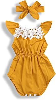 WOSENHIK Baby Girls Sleeveless Ruffled Romper Girls Yellow Floral Bodysuits Summer Clothes