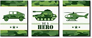 Big Dot of Happiness Camo Hero - Army Military Camouflage Nursery Wall Art and Kids Room Decorations - Gift Ideas - 7.5 x 10 inches - Set of 3 Prints